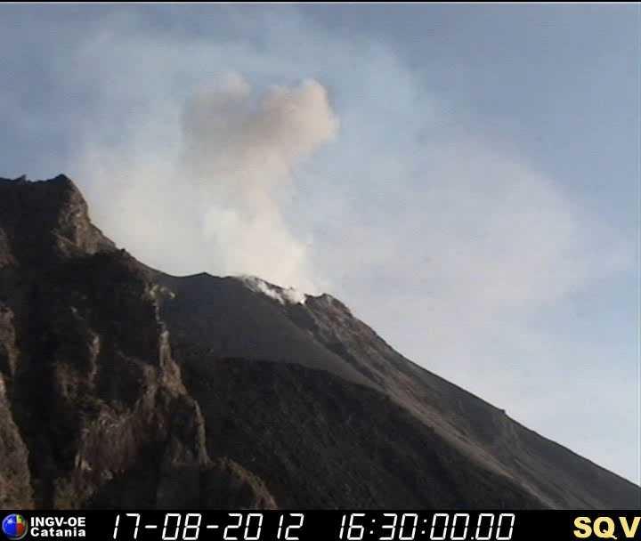 Strombolian eruption at Stromboli (INGV webcam)