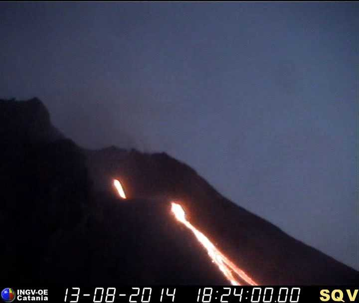 Stromboli's lava flow from the effusive vent at the NE base of the partially collapsed NE crater