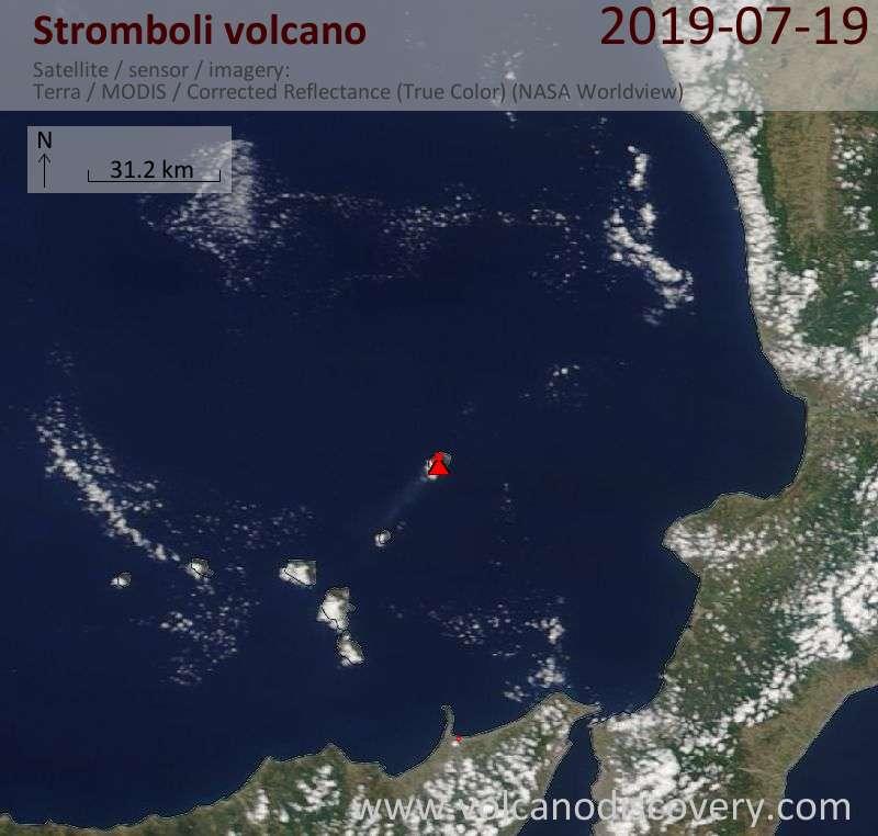 Satellite image of Stromboli volcano on 19 Jul 2019