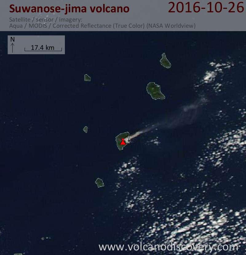 Satellite image of Suwanose-jima volcano on 26 Oct 2016