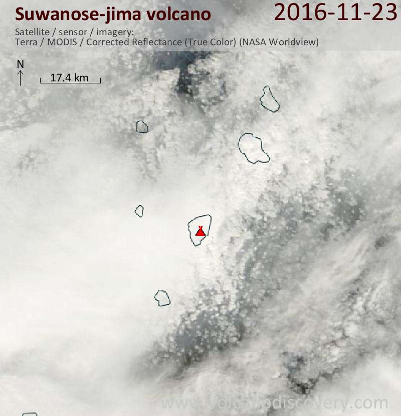Satellite image of Suwanose-jima volcano on 23 Nov 2016