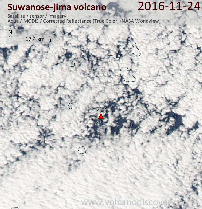 Satellite image of Suwanose-jima volcano on 25 Nov 2016