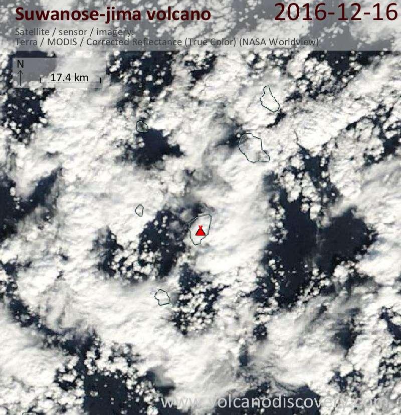 Satellite image of Suwanose-jima volcano on 16 Dec 2016