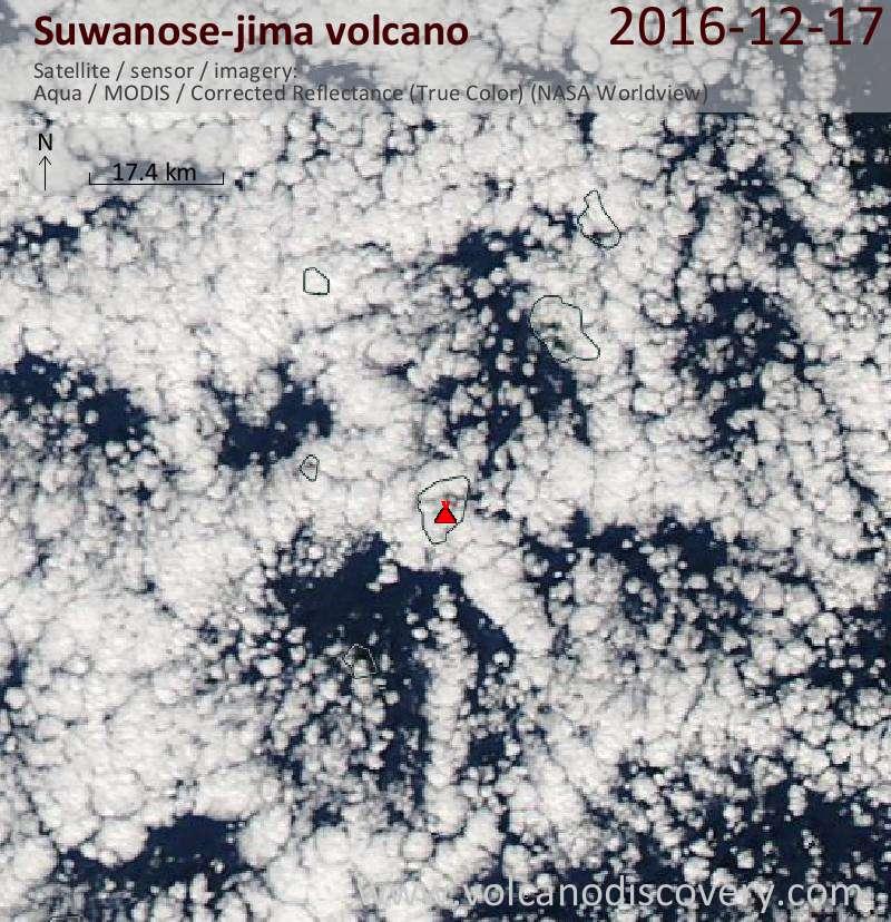 Satellite image of Suwanose-jima volcano on 17 Dec 2016