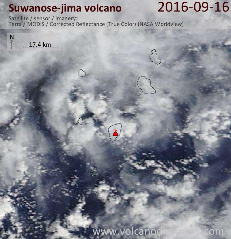Satellite image of Suwanose-jima volcano on 16 Sep 2016