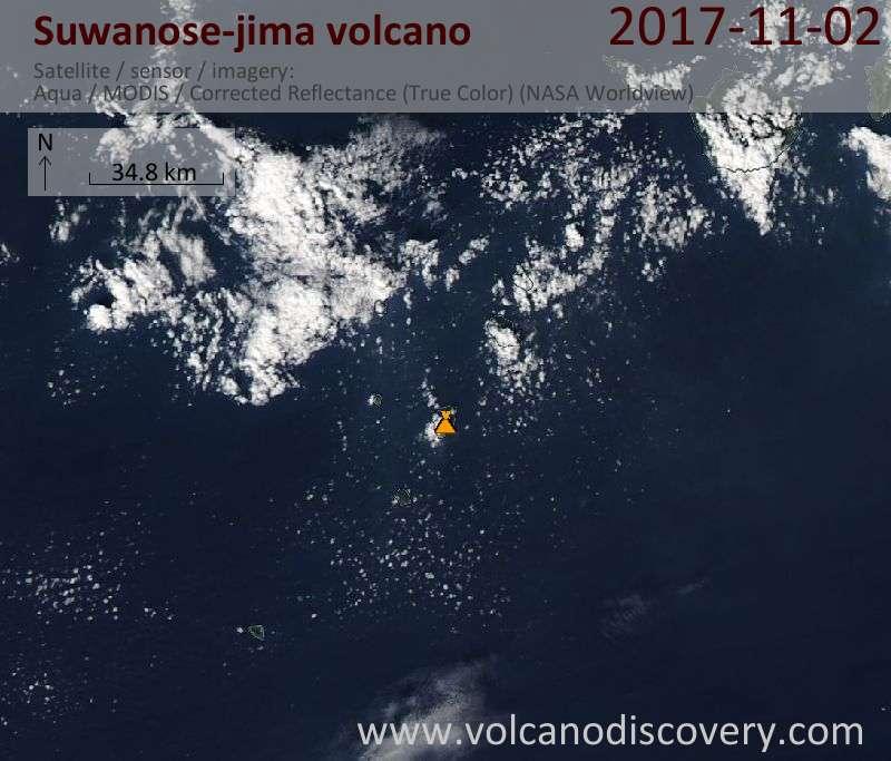 Satellite image of Suwanose-jima volcano on  2 Nov 2017