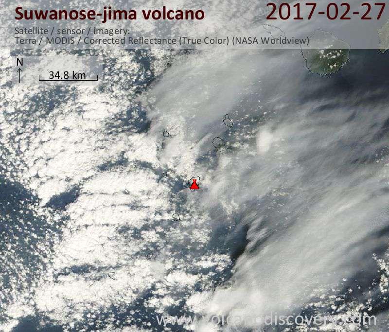 Satellite image of Suwanose-jima volcano on 27 Feb 2017