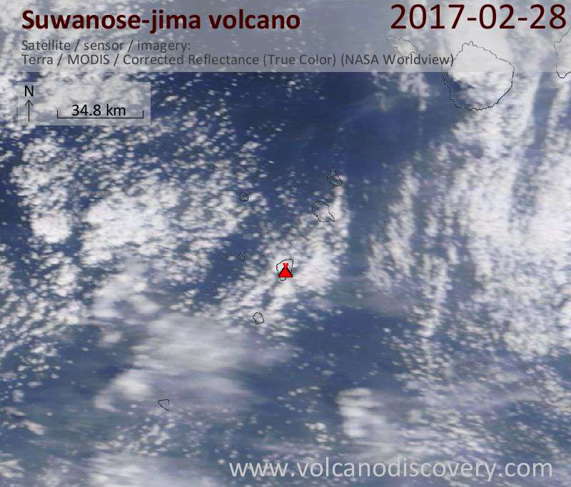 Satellite image of Suwanose-jima volcano on 28 Feb 2017