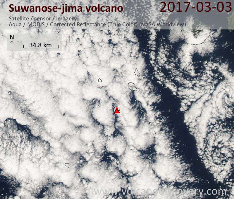 Satellite image of Suwanose-jima volcano on  3 Mar 2017
