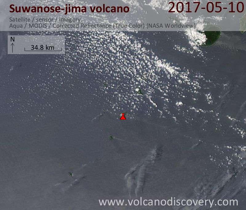 Satellite image of Suwanose-jima volcano on 10 May 2017