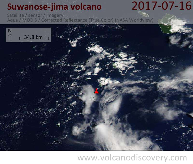 Satellite image of Suwanose-jima volcano on 16 Jul 2017