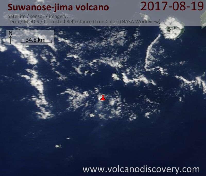 Satellite image of Suwanose-jima volcano on 19 Aug 2017