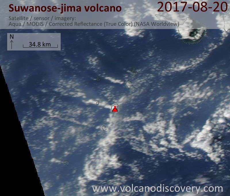 Satellite image of Suwanose-jima volcano on 20 Aug 2017