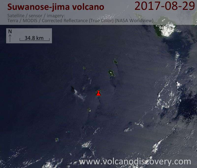 Satellite image of Suwanose-jima volcano on 29 Aug 2017
