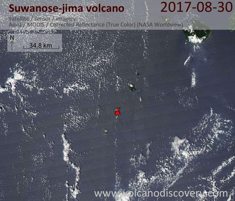 Satellite image of Suwanose-jima volcano on 30 Aug 2017