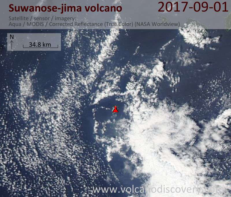 Satellite image of Suwanose-jima volcano on  1 Sep 2017
