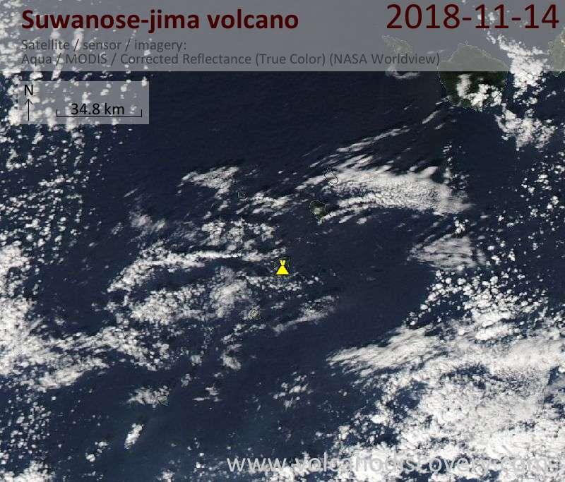 Satellite image of Suwanose-jima volcano on 14 Nov 2018