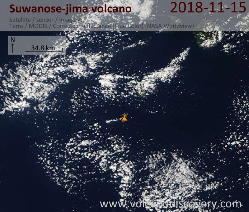 Satellite image of Suwanose-jima volcano on 15 Nov 2018