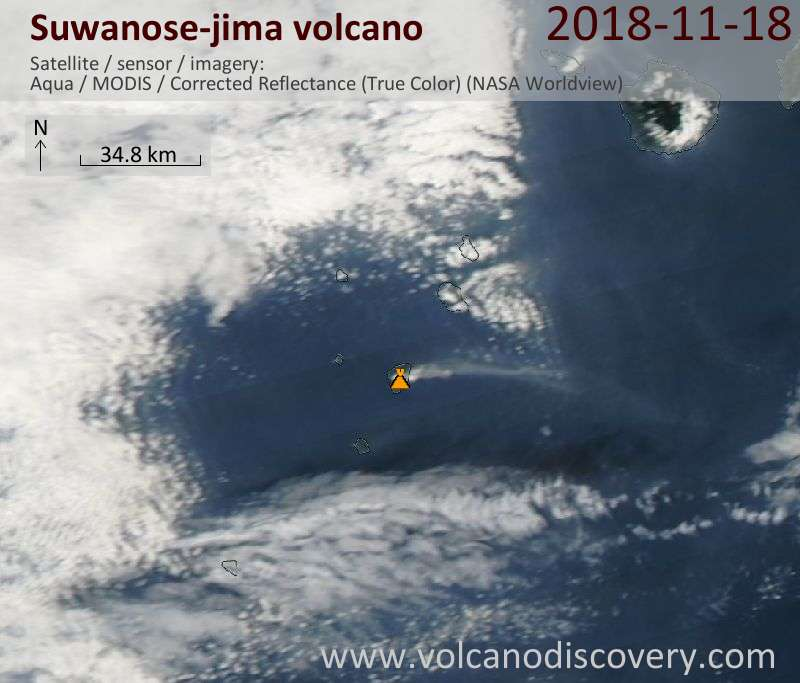 Satellite image of Suwanose-jima volcano on 18 Nov 2018