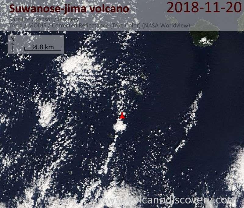 Satellite image of Suwanose-jima volcano on 20 Nov 2018