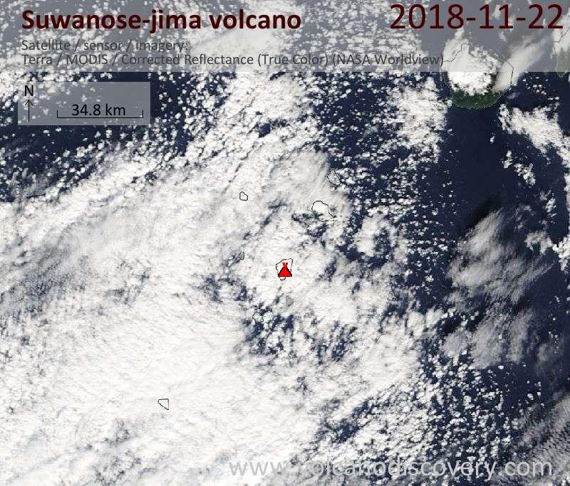 Satellite image of Suwanose-jima volcano on 22 Nov 2018
