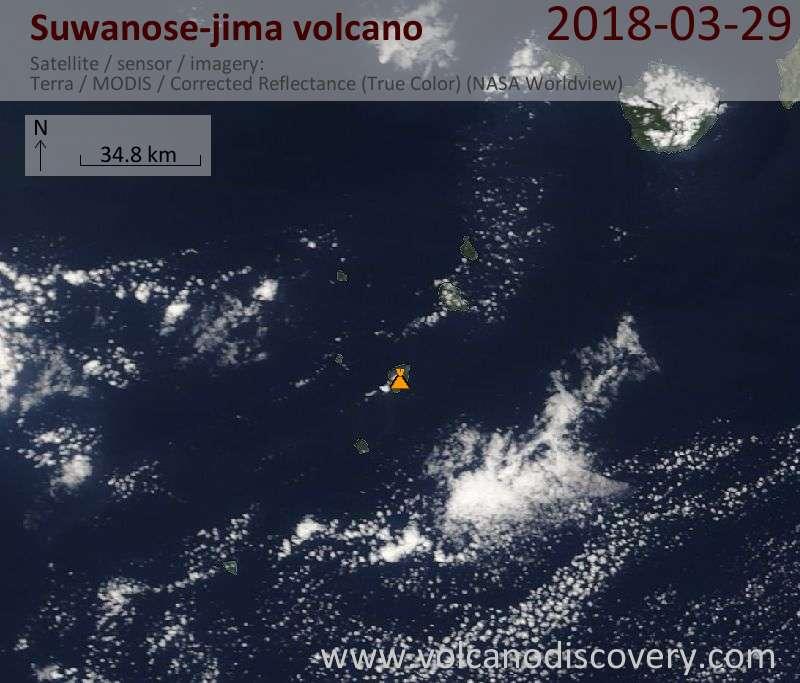 Satellite image of Suwanose-jima volcano on 29 Mar 2018