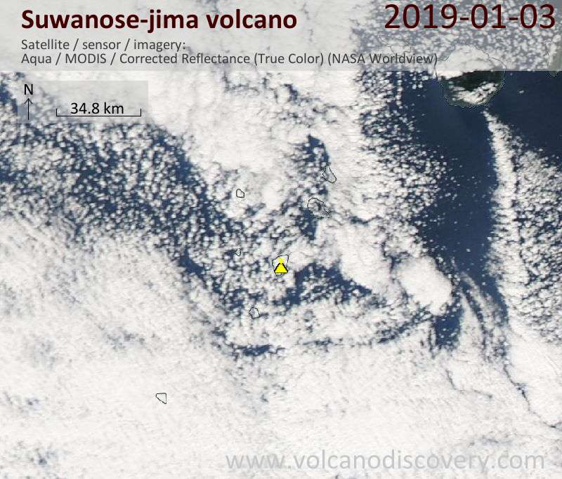 Satellite image of Suwanose-jima volcano on  3 Jan 2019