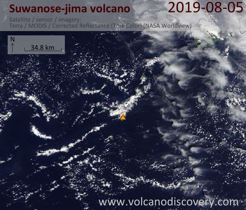 Satellite image of Suwanose-jima volcano on  5 Aug 2019