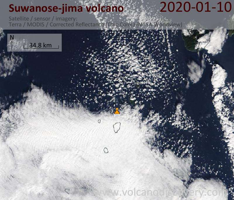 Satellitenbild des Suwanose-jima Vulkans am 10 Jan 2020