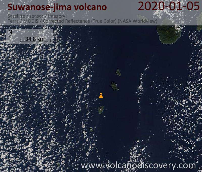 Satellitenbild des Suwanose-jima Vulkans am  5 Jan 2020