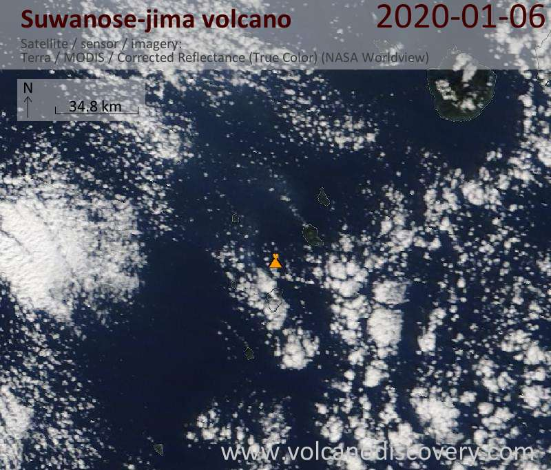 Satellite image of Suwanose-jima volcano on  6 Jan 2020