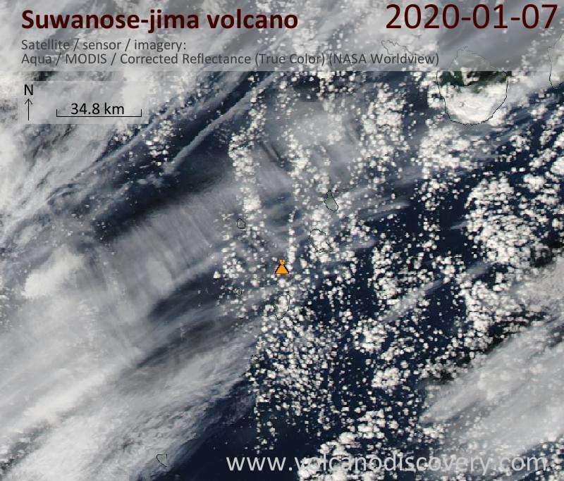 Satellitenbild des Suwanose-jima Vulkans am  7 Jan 2020