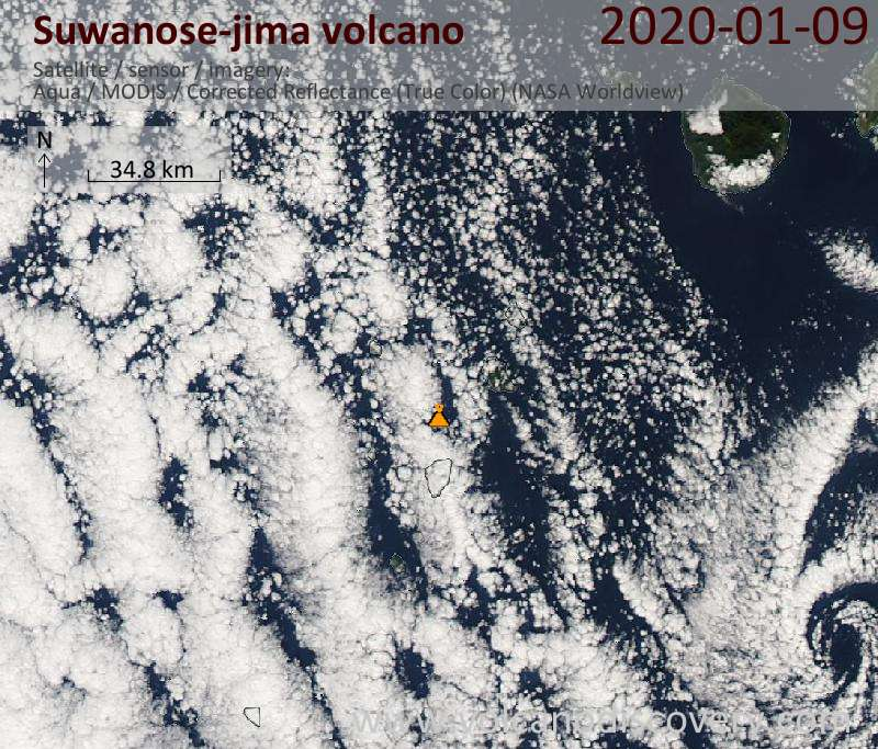 Satellitenbild des Suwanose-jima Vulkans am  9 Jan 2020