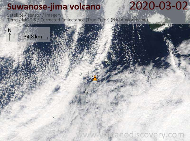 Satellite image of Suwanose-jima volcano on  2 Mar 2020