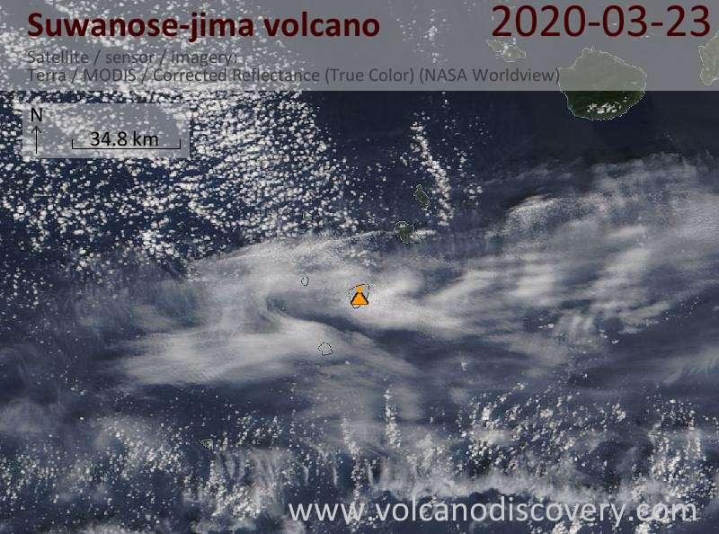 Satellite image of Suwanose-jima volcano on 23 Mar 2020