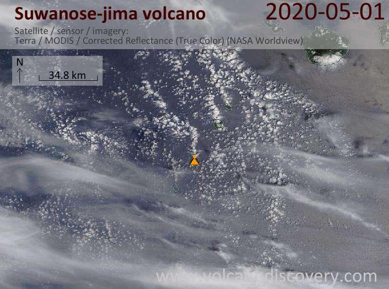 Satellite image of Suwanose-jima volcano on  1 May 2020