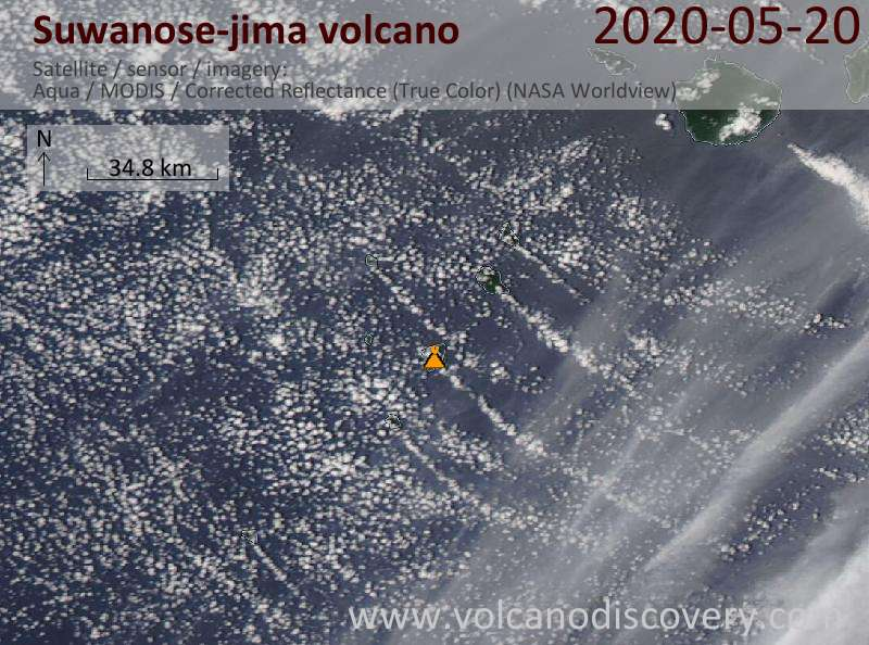 Satellite image of Suwanose-jima volcano on 20 May 2020