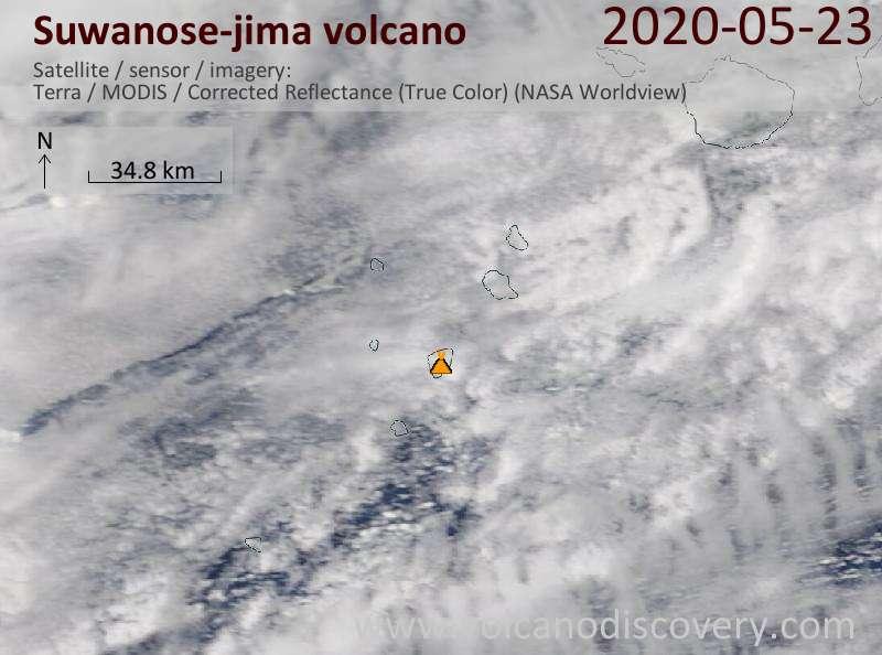 Satellite image of Suwanose-jima volcano on 23 May 2020