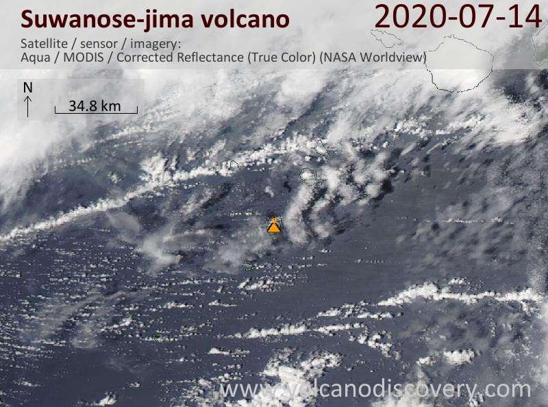 Satellite image of Suwanose-jima volcano on 14 Jul 2020