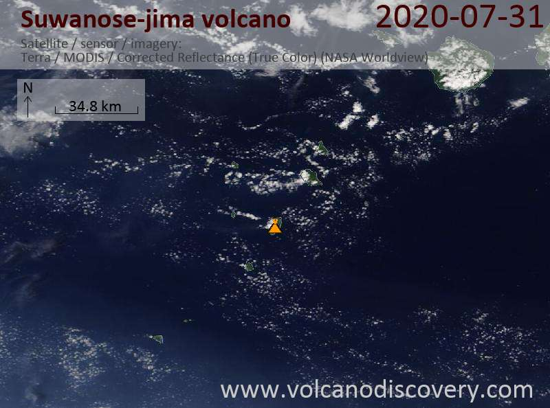 Satellite image of Suwanose-jima volcano on 31 Jul 2020