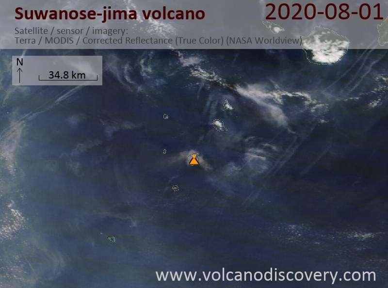 Спутниковое изображение вулкана Suwanose-jima  1 Aug 2020