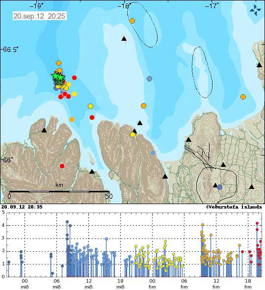 Earthquakes in the TFZ on 20 Sep (Icelandic Meto Office)