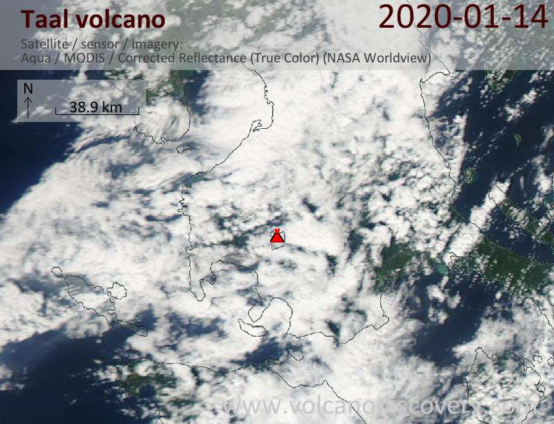 Satellite image of Taal volcano on 14 Jan 2020