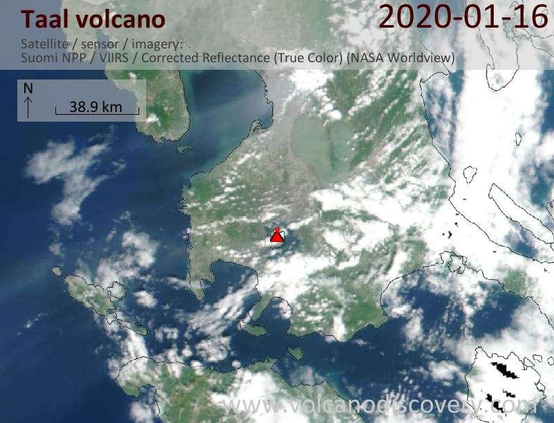 Satellitenbild des Taal Vulkans am 16 Jan 2020