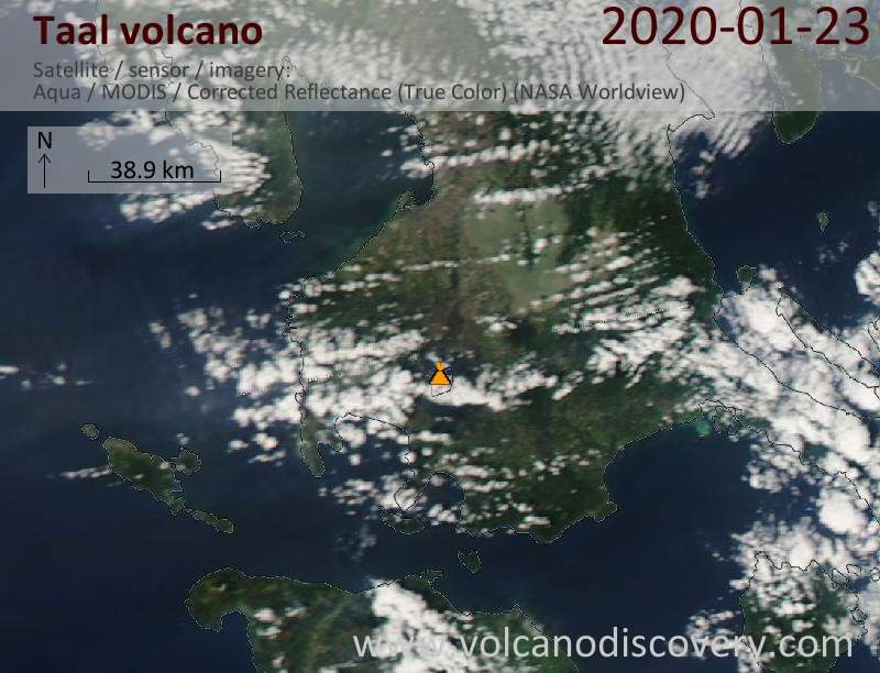 Satellite image of Taal volcano on 23 Jan 2020