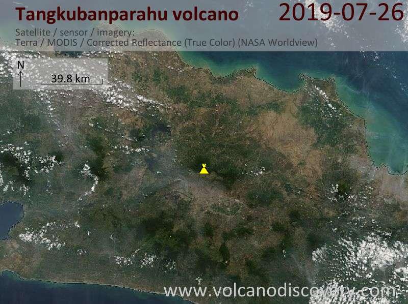 Satellitenbild des Tangkubanparahu Vulkans am 26 Jul 2019