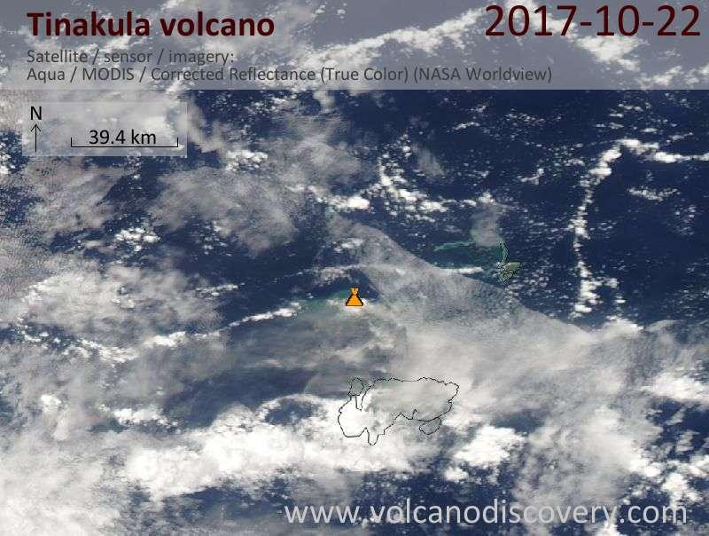 Satellite image of Tinakula volcano on 22 Oct 2017