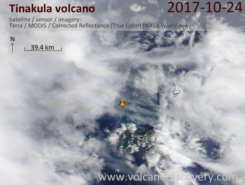 Satellite image of Tinakula volcano on 24 Oct 2017
