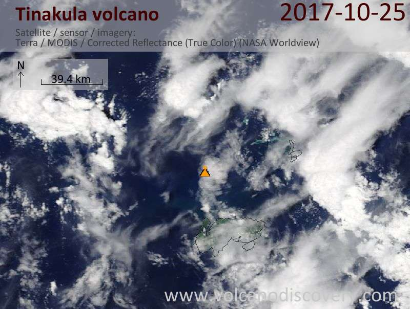 Satellite image of Tinakula volcano on 25 Oct 2017