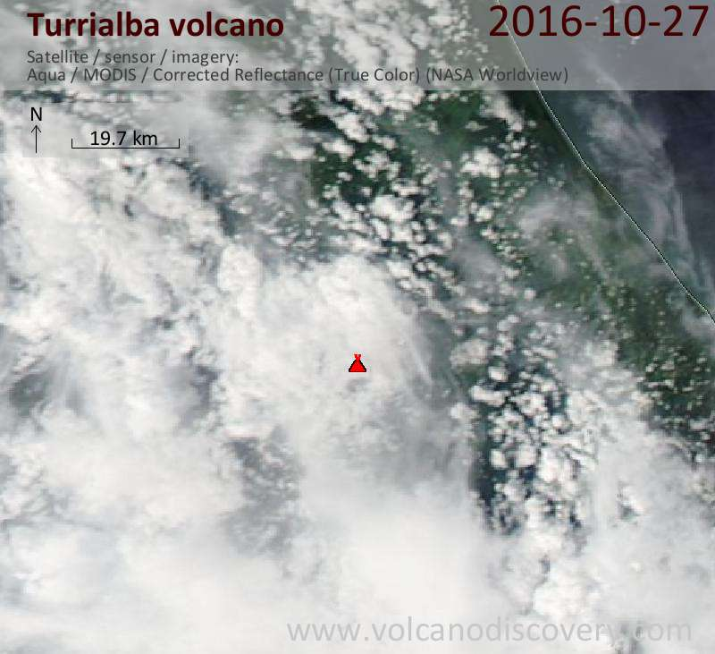 Satellite image of Turrialba volcano on 28 Oct 2016